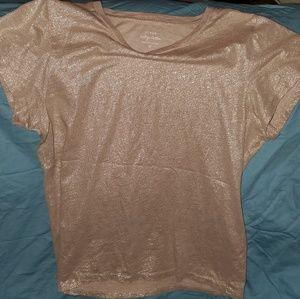 J. Crew Vintage Cotton rose gold glitter tshirt